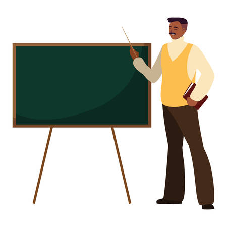 black teacher with chalkboard vector illustration design Ilustrace