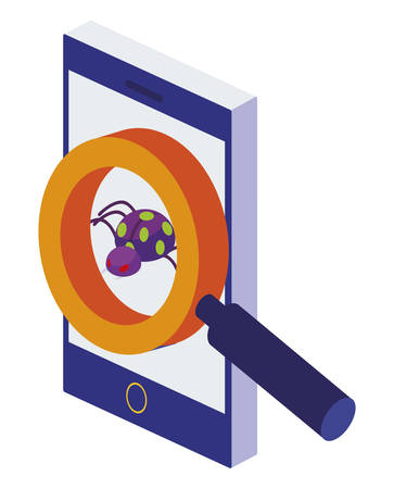 smartphone with magnifying searching bug virus atack vector illustration design