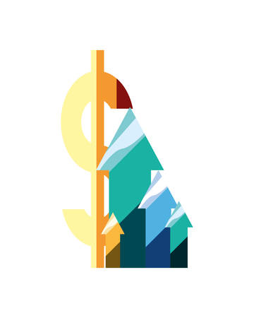 chart arrows increase dollar symbol vector illustration