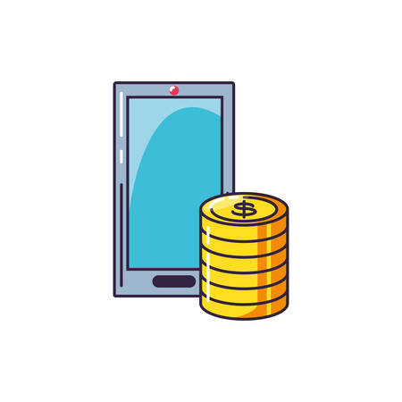 pile of coins dollar with smartphone vector illustration design
