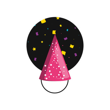 party hat decorative with frame circular vector illustration design