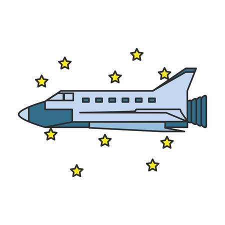 space shuttle with set stars isolated icon vector illustration design