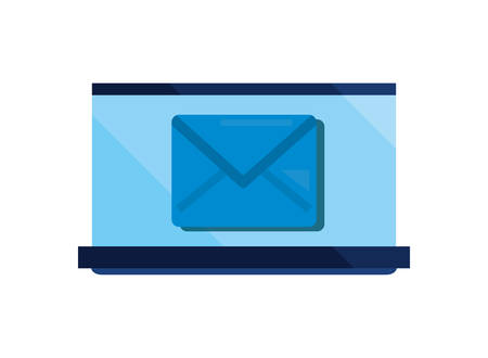 laptop email cybersecurity data protection vector illustration