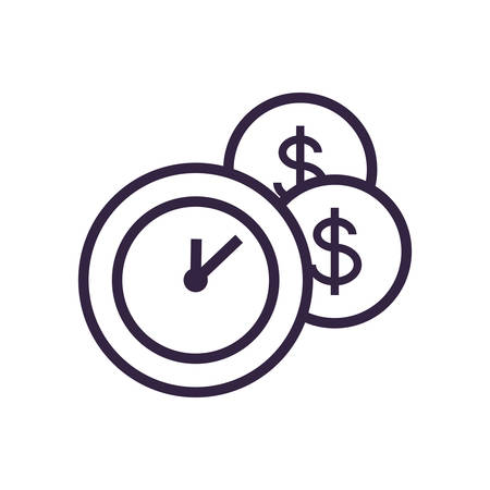 clock time with coins dollar vector illustration design