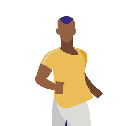 athletic afro man running character vector illustration design Ilustracja