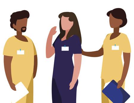 interracial group medicine workers with uniform characters vector illustration design Stock Illustratie