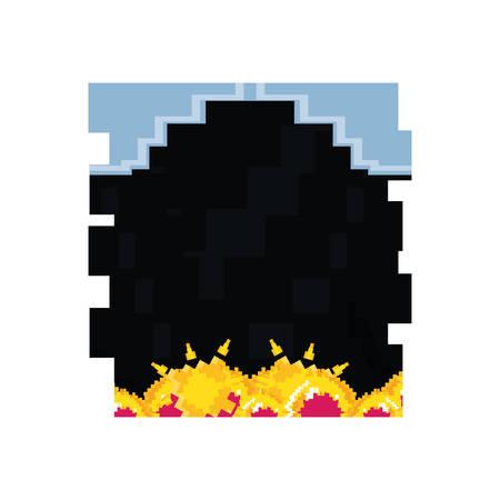 video game pixelate scene vector illustration design  イラスト・ベクター素材