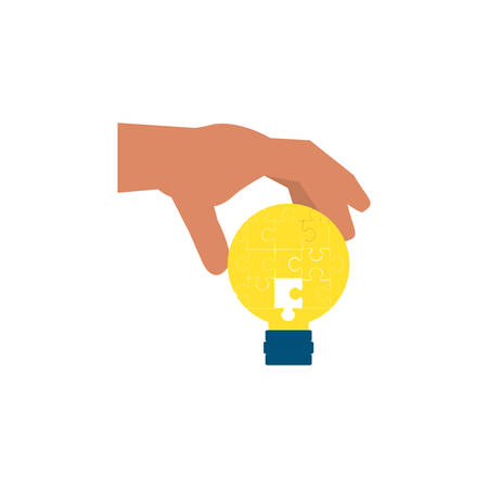 hand with puzzles pieces in shape light bulb vector illustration design