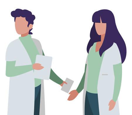 couple doctors professionals characters vector illustration design