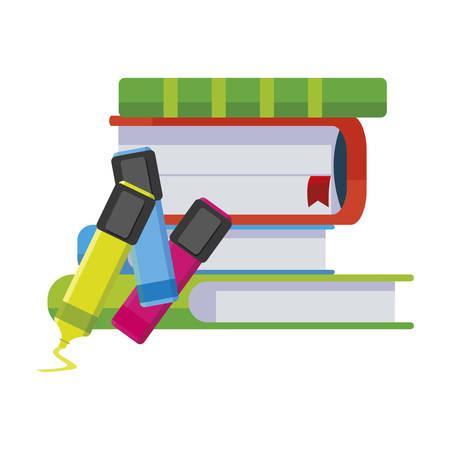 pile text books with highlighter pens vector illustration design Çizim