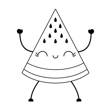 slice of watermelon fruit character vector illustration design