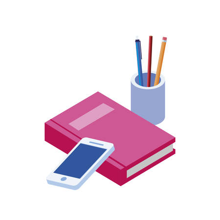 text book with smarphone vector illustration design