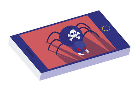 smartphone with bug virus atack vector illustration design