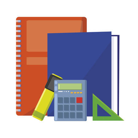 school notebook with set items vector illustration design