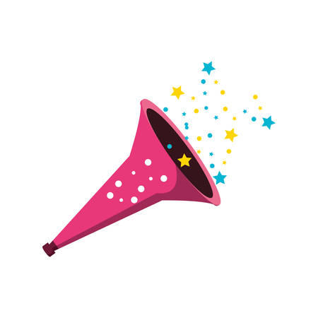 trumpet of birthday with stars vector illustration design