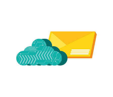envelope mail with cloud computing vector illustration design