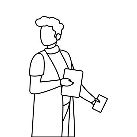 male medicine worker with uniform and documents vector illustration design