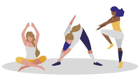 athletic women practicing exercises vector illustration design