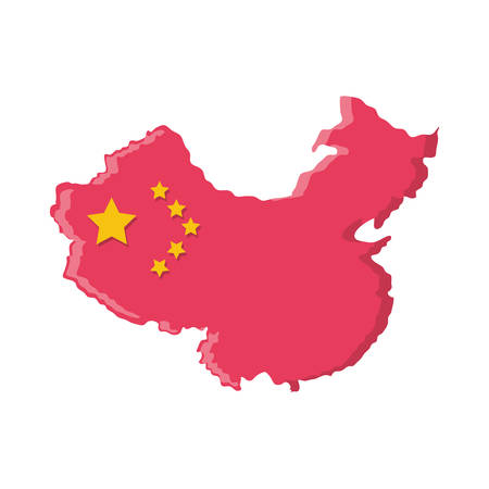 map china with flag isolated icon vector illustration design