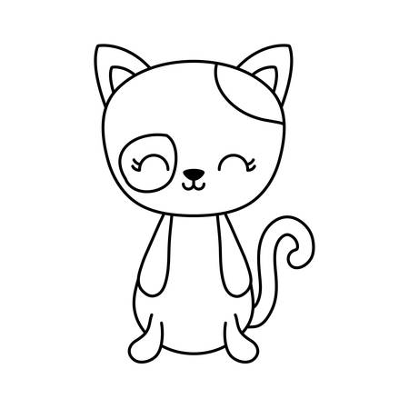 cute cat animal isolated icon vector illustration design Иллюстрация