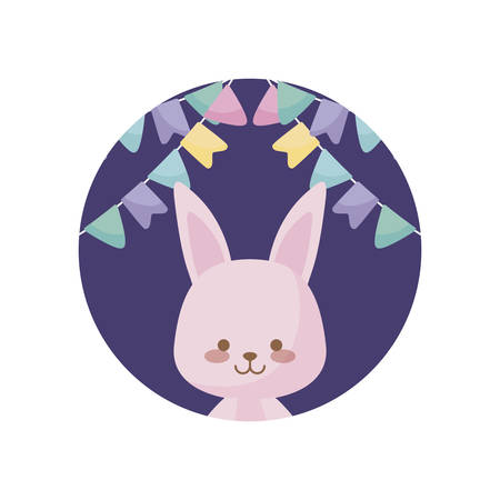 cute rabbit animal with garlands hanging vector illustration design