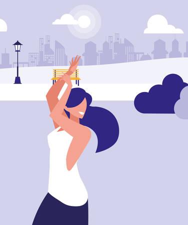 young woman dancing in the park character vector illustration design Illusztráció