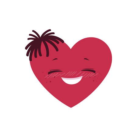 female heart character vector illustration design