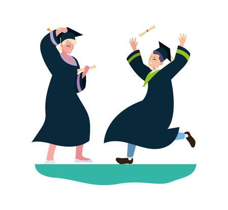 young couple students graduated celebrating vector illustration design Illusztráció