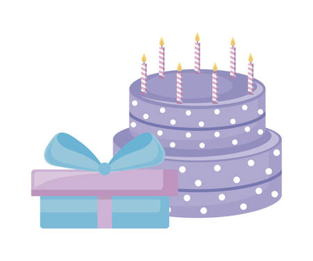 sweet cake with candles and gift box vector illustration design Illustration