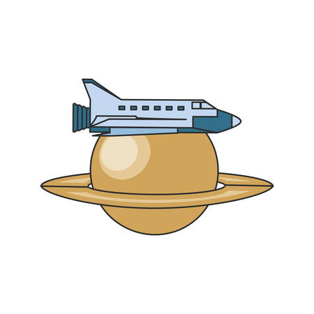 space shuttle with planet saturn isolated icon vector illustration design Stock fotó - 129805503