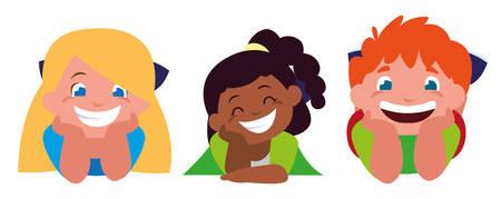 happy little interracial kids characters vector illustration design 向量圖像