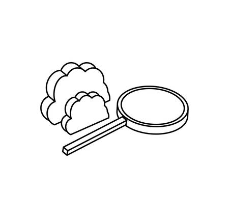search magnifying glass with cloud computing vector illustration design