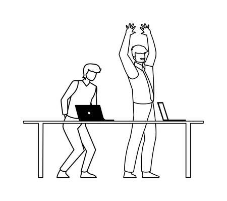 couple of businessmen in the office scene vector illustration design Çizim