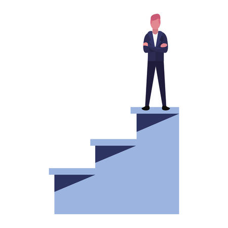 businessman on top success ladder vector illustration Stock Vector - 129805542