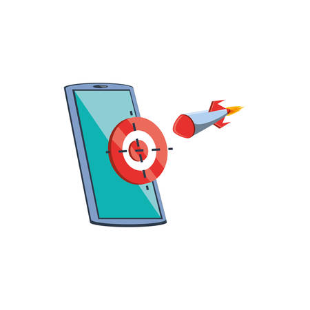 smartphone device with target and rocket vector illustration design