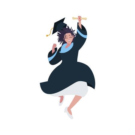 beautiful woman student graduated celebrating vector illustration design
