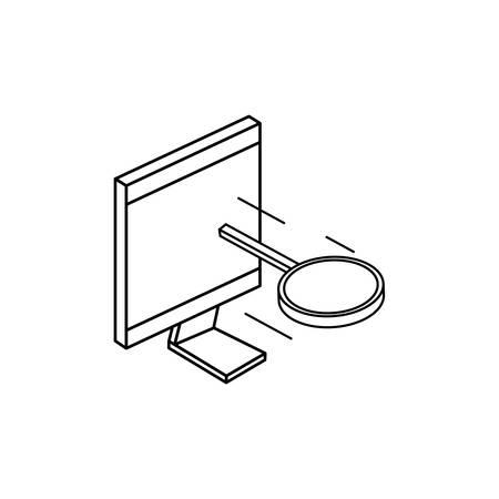 desktop computer with magnifying glass vector illustration design