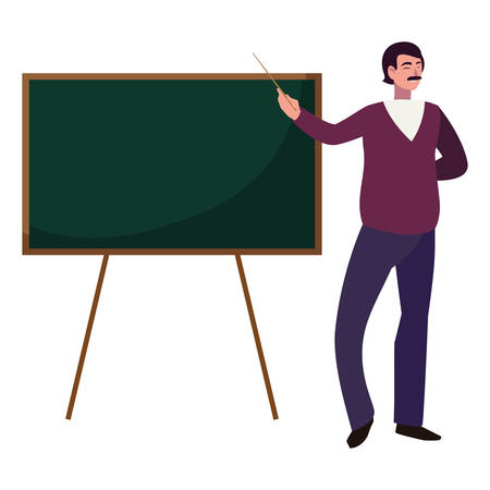 teacher male with chalkboard character vector illustration design Foto de archivo - 129796084