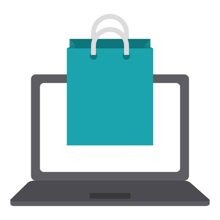 laptop computer with shopping bag vector illustration design