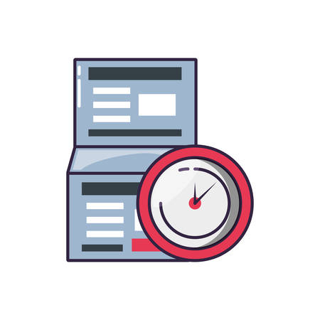 clock time with document paper vector illustration design
