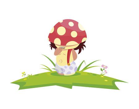 fungu elf in garden magic character vector illustration design  イラスト・ベクター素材
