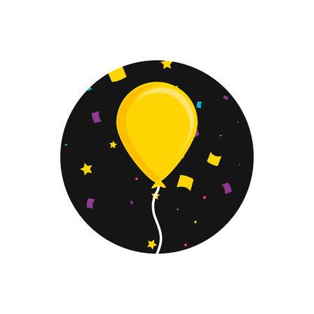 balloon helium in frame circular vector illustration design