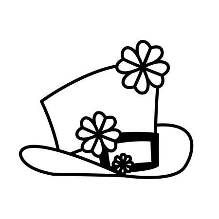lemprechaun tophat with clovers leafs vector illustration design