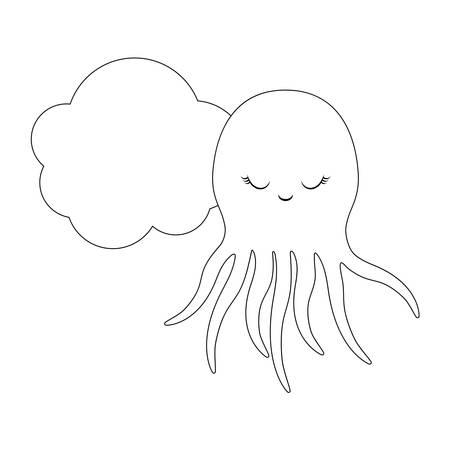 cute octopus with cloud vector illustration design Stock Illustratie