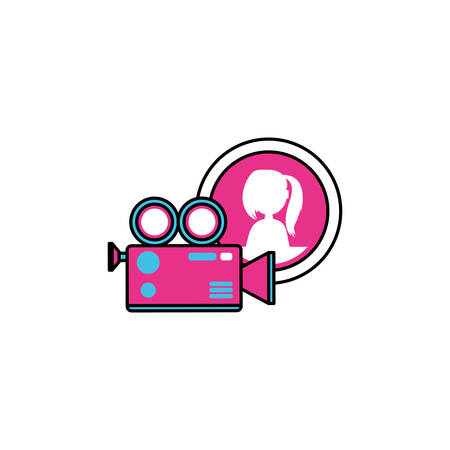 video camera with female user acount app vector illustration design Illusztráció
