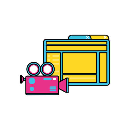 webpage template with camera video vector illustration design