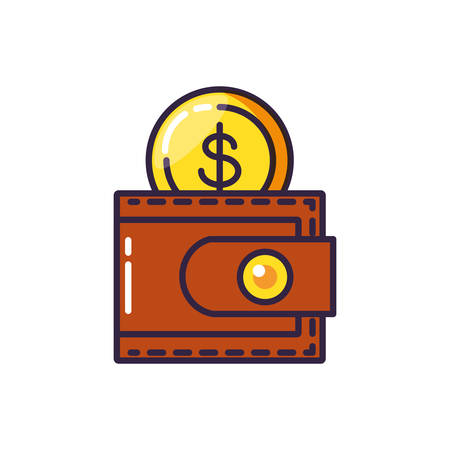 coin dollar with wallet money vector illustration design