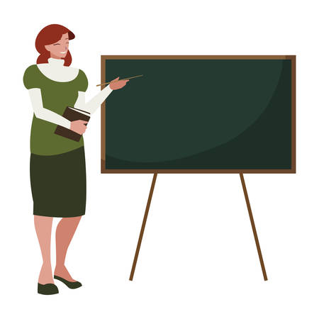 female teacher with textbook and chalkboard vector illustration design Ilustrace