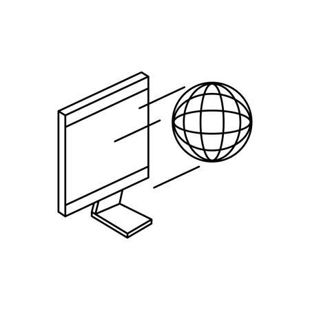 desktop computer with sphere browser vector illustration design