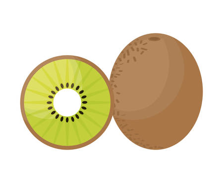 fresh kiwi with slice fruits healthy vector illustration design